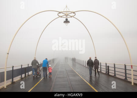 Southport Pier, Merseyside, UK Weather. 7th January, 2017. Sea Fog_ Damp foggy conditions on the West Coast. Cloudy - Stock Photo