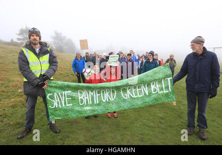 Rochdale, Lancashire, UK. 7th January, 2017. Protesters behind a banner which reads 'Save Bamford Green Belt', Bamford, - Stock Photo