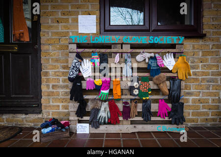 London, UK. 7th January, 2017. The Lonely Glove Society. A sanctuary for lost or disowned gloves that have been - Stock Photo