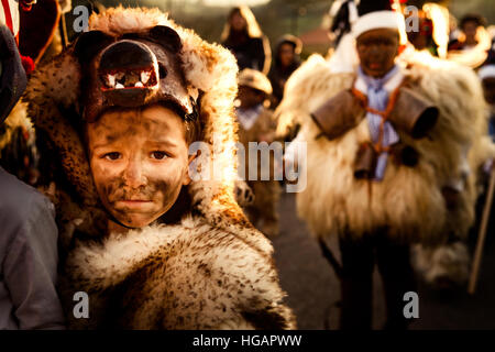 Silio, Spain. 7th January, 2017. La Vijanera takes place every year in a small town of less than 600 habitants. - Stock Photo