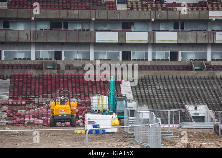 London, UK. 7th January 2017. Demolition works continue at West Ham United's former Boleyn Ground stadium in preparation - Stock Photo