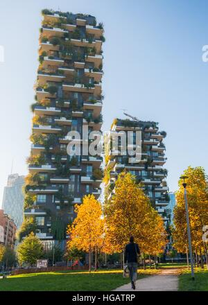 Bosco Verticale (Vertical Forest) is a pair of residential towers in the Porta Nuova district of Milan, Italy. - Stock Photo