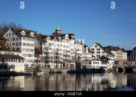 Schipfe riverfront reflected in the Limmat River, Zürich Switzerland - Stock Photo
