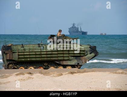 An U.S. Marine Corps amphibious assault vehicle arrives on shore in Pohang, Republic of Korea. - Stock Photo