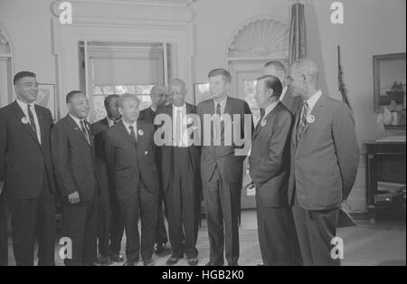 Civil rights leaders meet with President John F. Kennedy in the oval office of the White House. - Stock Photo