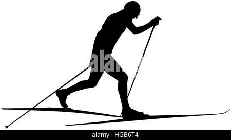 Athlete Ski Racer Classic Style Black Silhouette