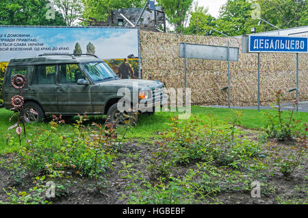 Dnepropetrovsk, Ukraine - May 19, 2016: Open air museum dedicated to war in the Donbass. Military car Ukrainian - Stock Photo