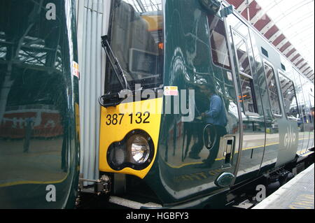 New Electrostar units No. 387131 and 387132 sit in London Paddington on 2nd September 2016 on display. - Stock Photo