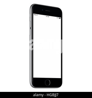 Black mobile smartphone mock up slightly counterclockwise rotated with blank screen isolated on white background. - Stock Photo