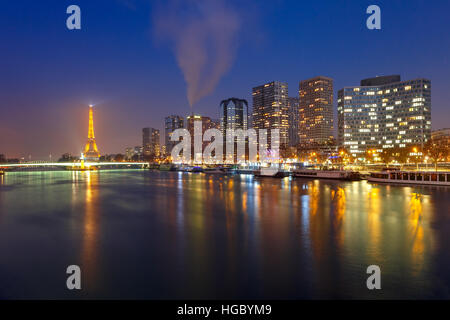 Panorama with Eiffel tower at night, Paris France - Stock Photo