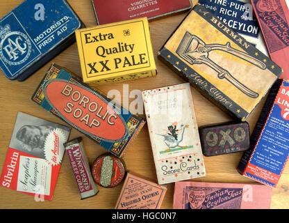 A selection of retro/vintage packaging for various brands from the early to mid-20th century – including cosmetics, - Stock Photo