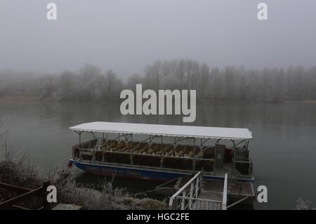 Le Saint-Martin-de-Tours boat moored on the bank of the River Loire Rochecorbon France  January 2017 - Stock Photo