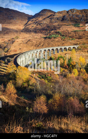 Glenfinnan Viaduct in the Scottish Highlands. - Stock Photo
