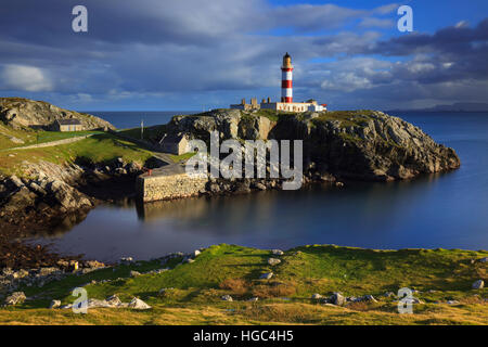 Eilean Glas Lighthouse on the Isle of Scalpay in the Outer Hebrides - Stock Photo