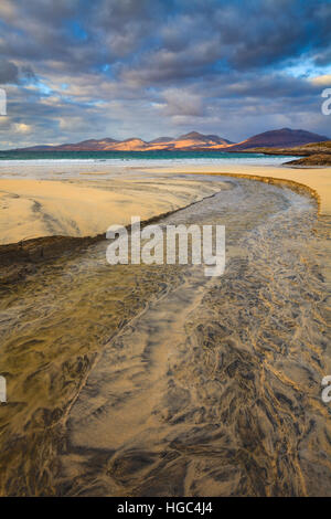 A steam on Luskentyre (Losgaintir)  Beach on the Isle of Harris - Stock Photo