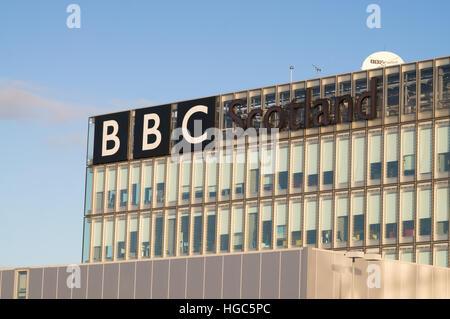 The BBC Scotland building at Pacific Quay, Glasgow, Scotland, UK - Stock Photo