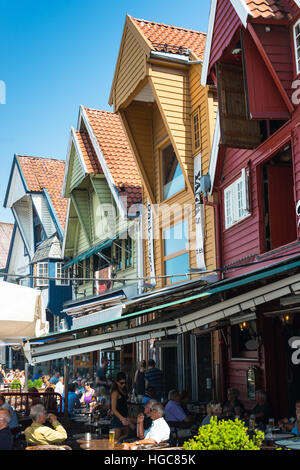 Historic harbour warehouses, Stavanger, Norway, Scandinavia, Europe. - Stock Photo
