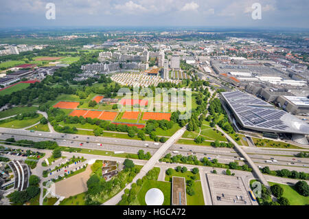 Aerial view of  the city from the The Olympic Tower in Munich, Germany - Stock Photo