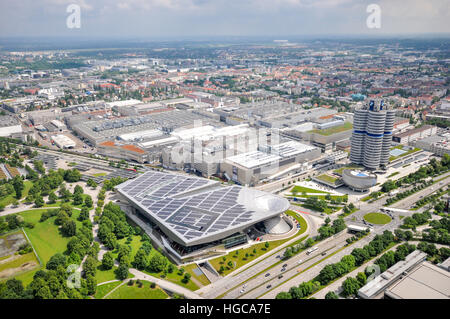 Aerial view of  BMW World, BMW Museum and BMW Tower from The Olympic Tower in Munich, Germany - Stock Photo