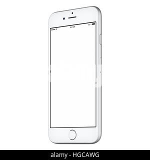 White mobile smart phone mockup slightly rotated both sides with blank screen isolated on white background. High - Stock Photo