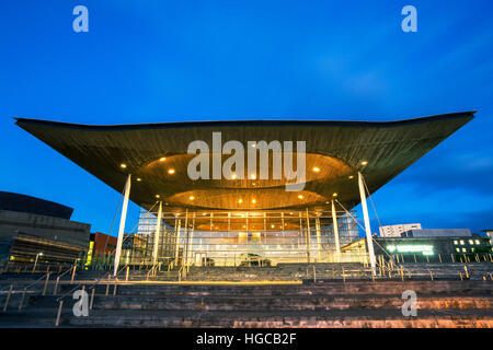 National Assembly for Wales, Night, The Senedd, Cardiff Bay, Cardiff, Wales, UK - Stock Photo