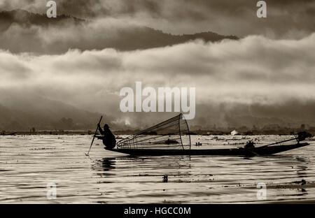 Basket fisherman in Inle Lake, Myanmar / Burma. - Stock Photo