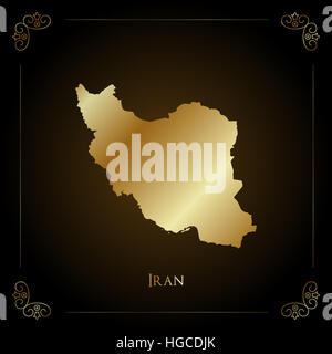 Iran golden map. Luxurious design element, vector illustration. - Stock Photo