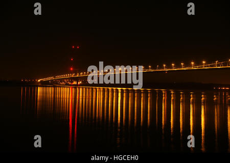 night time, Humber bridge, Hessle, east Yorkshire - Stock Photo