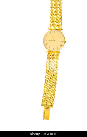 Luxury gold watch isolated on white background with blank copy text space in vertical view for decoration - Stock Photo