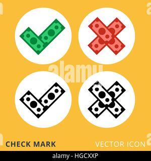 check mark dollar piles flat vector icon - Stock Photo