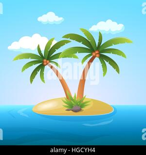 Summer Vacation Holiday Tropical Ocean Island With Palm Tree Flat Vector Illustration - Stock Photo