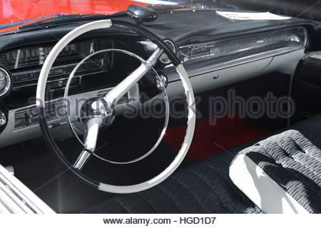 oldtimer red, black and white - Stock Photo