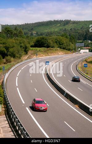 AG-11 motorway, Rianxo, La Coruña province, Region of Galicia, Spain, Europe - Stock Photo