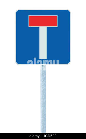 Dead end no through road traffic sign, isolated roadside T signage on pole post signpost signboard, blue, red, large - Stock Photo
