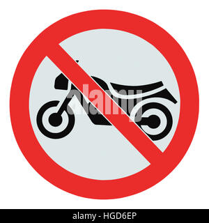 No motorcycle sign, isolated no bikes allowed prohibition zone warning signage icon macro closeup - Stock Photo