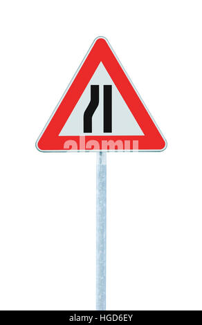 Road narrows sign on pole post, left side, isolated large detailed vertical closeup - Stock Photo