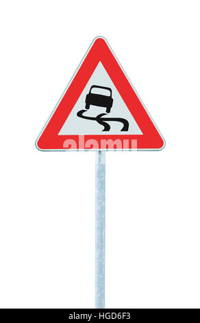 Slippery when wet road sign, isolated signpost traffic signage, large detailed vertical closeup - Stock Photo