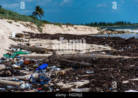Mexico Coastline ocean Pollution Problem with plastic litter 2 - Stock Photo