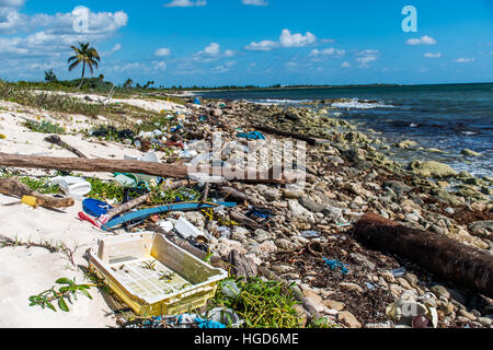Mexico Coastline ocean Pollution Problem with plastic litter 3 - Stock Photo