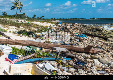 Mexico Coastline ocean Pollution Problem with plastic litter 4 - Stock Photo