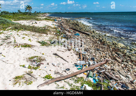 Mexico Coastline ocean Pollution Problem with plastic litter 5 - Stock Photo
