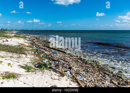 Mexico Coastline ocean Pollution Problem with plastic litter 6 - Stock Photo