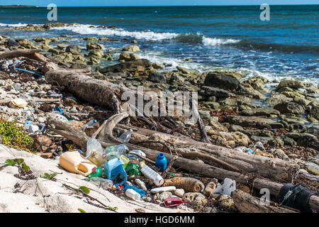 Mexico Coastline ocean Pollution Problem with plastic litter 7 - Stock Photo