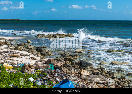 Mexico Coastline ocean Pollution Problem with plastic litter 8 - Stock Photo