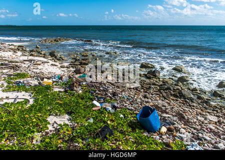Mexico Coastline ocean Pollution Problem with plastic litter 9 - Stock Photo