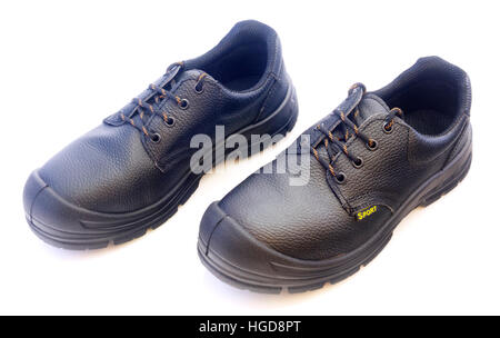 New black mans leather shoes isolated on white background - Stock Photo