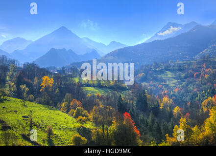 Early autumn landscape located in the French Pyrenees Mountains. - Stock Photo
