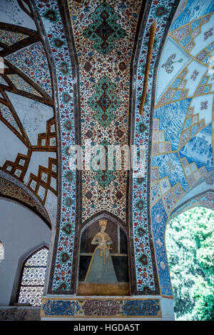 Pavilion details in oldest extant Persian garden in Iran called Fin Garden (Bagh-e Fin), located in Kashan city - Stock Photo