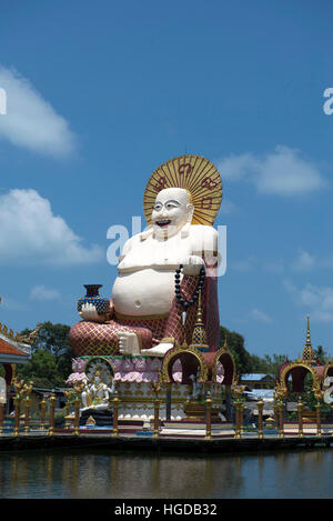 Thailand, Koh Samui, Temple, Wat Plai Laem, Laughing Buddha, Chinese, - Stock Photo