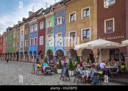 Picturesque houses and square in Poznan City - Stock Photo